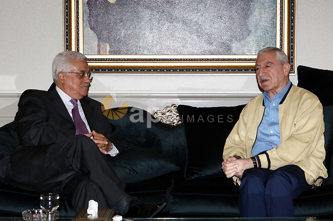 Palestinian President Mahmoud Abbas meets the Secretary General of the Democratic Front Nayef Hawatmeh, in The Syrian Capital of Damascus.