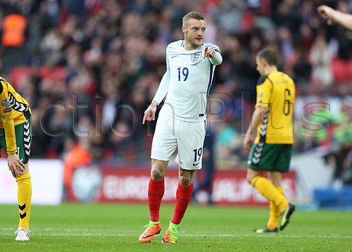 March 26th 2017, Wembley Stadium, London, England; World Cup 2018 Qualification football, England versus Lithuania; Jamie Vardy of England celebrates after scoring his sides 2nd goal in the 67th minute to make it 2-0