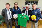 Derek George and Con Lucy of Killorglin AFC collecting their soccer strip which was won by Tim Mulvhille of the Red Fox Inn as part of the Kerry's Eye world cup soccer promotion .In the picture are Sean O'Keeffe (chairman of the KDL),Derek George (Killorglin AFC),John O'Regan (KDL) and Con Lucey (Killorglin AFC)
