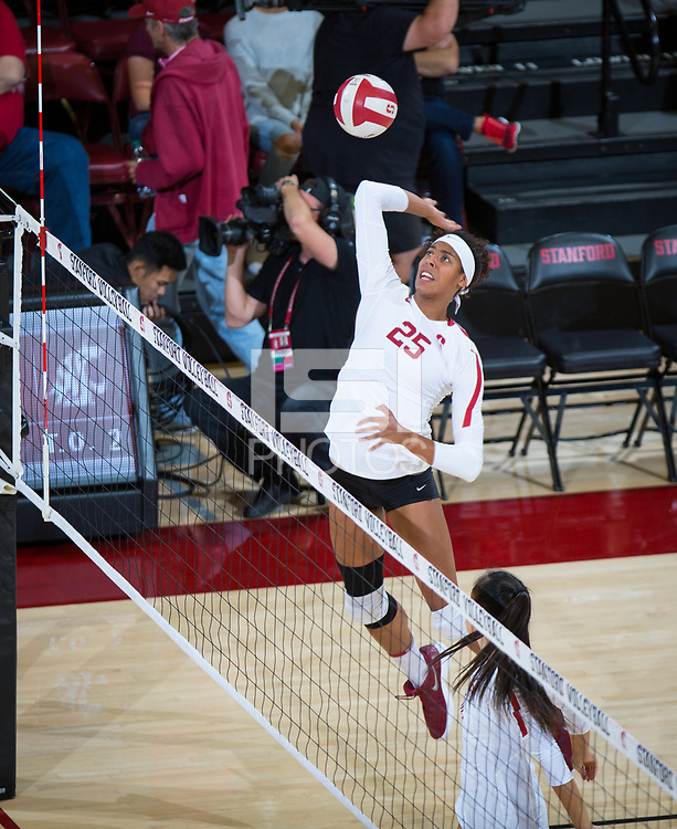 STANFORD, CA - October 12, 2018: Courtney Bowen at Maples Pavilion. No. 2 Stanford Cardinal swept No. 21 Washington State Cougars, 25-15, 30-28, 25-12.