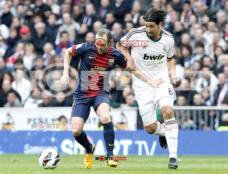 Real Madrid's Sami Khedira (r) and FC Barcelona's Andres Iniesta during La Liga match.March 02,2013. (ALTERPHOTOS/Acero) /NortePhoto