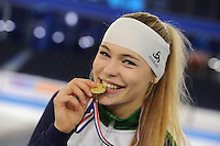 SCHAATSEN: HEERENVEEN: 04-02-2017, KPN NK Junioren, Podium Junioren A Dames 1000m, Jutta Leerdam,©foto Martin de Jong