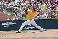 LSU Tigers pitcher Chris Cotton (58) delivers a pitch to the plate against the Texas A&M Aggies in the NCAA Southeastern Conference baseball game on May 11, 2013 at Blue Bell Park in College Station, Texas. LSU defeated Texas A&M 2-1 in extra innings to capture the SEC West Championship. (Andrew Woolley/Four Seam Images).