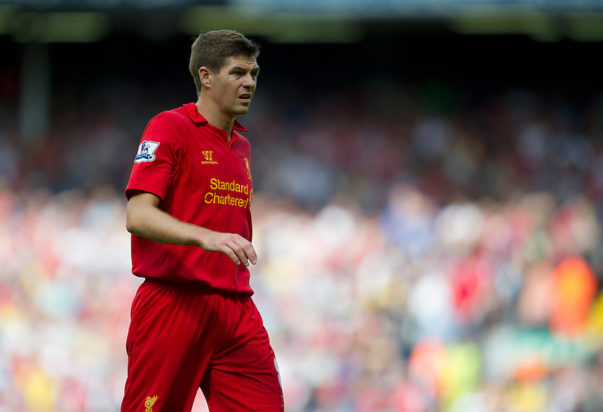 Liverpool's Steven Gerrard ..Football - Barclays Premiership - Liverpool v Arsenal - Sunday 2nd September 2012 - Anfield - Liverpool..