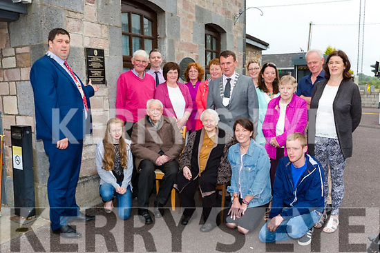 Killarney Mayor Niall Kelleher unvails a plaque to 1916 Rising hero Patrick O'Connor in Rathmore Train Station with his Patrick's family members last Monday evening l-r: front row Sarah O'Connor, Dan Joe and Gretta O'Connor, Emma Murphy, Declan O'Connor, Back row: Patrick Buckley Adrian O'Sullivan, Eileen Enright, Kitty O'Sullivan, Ann Murphy, Kerry Mayor John  Sheahan, Sarah Murphy, Ann Moynihan, Teresa Cremin, Eileen and Tom O'Connor,