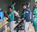 (L-R) Norichika Aoki, Hisashi Iwakuma (Mariners),<br /> MARCH 6, 2016 - MLB :<br /> Norichika Aoki and Hisashi Iwakuma of the Seattle Mariners laugh in the dugout during a spring training baseball game against the Texas Rangers at Surprise Stadium in Surprise, Arizona, United States. (Photo by AFLO)