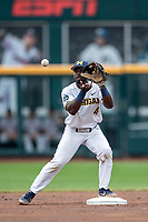 Michigan Wolverines second baseman Ako Thomas (4) catches the ball at second base against the Texas Tech Red Raiders in the NCAA College World Series on June 21, 2019 at TD Ameritrade Park in Omaha, Nebraska. Michigan defeated Texas Tech 15-3 and will play in the CWS Finals. (Andrew Woolley/Four Seam Images)