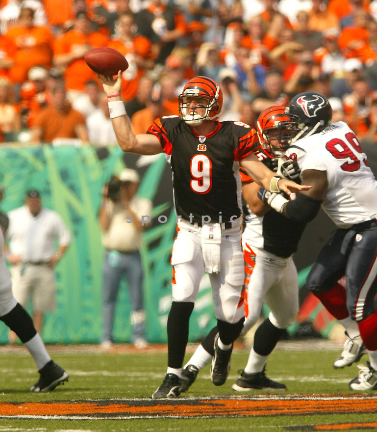 Carson Palmer, of the Cincinnati Bengals, during their game against the Houston Texans on October 2, 2005...Bengals win 16-10...Kevin Tanaka / SportPics