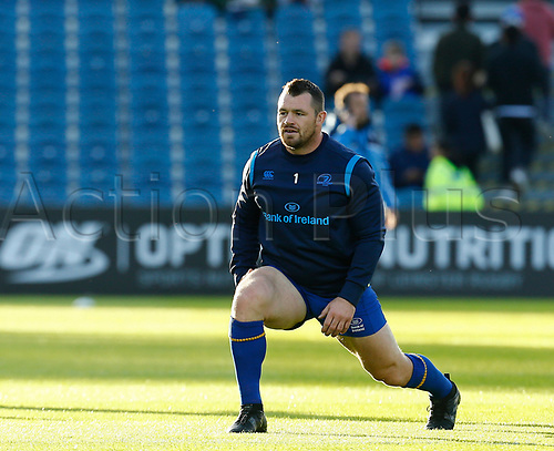 8th September 2017, RDS Arena, Dublin, Ireland; Guinness Pro14 Rugby, Leinster versus Cardiff Blues; Cian Healy of Leinster stretches prior to kick off