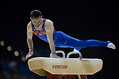 21st March 2018, Arena Birmingham, Birmingham, England; Gymnastics World Cup, day one, mens competition; James Hall (GBR) on the Pommel Horse during his competition routine