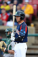 Kane County Cougars outfielder Albert Almora #2 during a game against the Beloit Snappers on May 26, 2013 at Fifth Third Bank Ballpark in Geneva, Illinois.  Beloit defeated Kane County 6-5.  (Mike Janes/Four Seam Images)