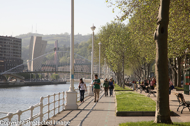 Volantin Walk, Nervion River - Estuary, Bilbao, Basque Country, Spain