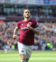 West Ham United's Marko Arnautovic celebrates scoring his side's first goal <br /> <br /> Photographer Rob Newell/CameraSport<br /> <br /> The Premier League - West Ham United v Southampton - Saturday 4th May 2019 - London Stadium - London<br /> <br /> World Copyright © 2019 CameraSport. All rights reserved. 43 Linden Ave. Countesthorpe. Leicester. England. LE8 5PG - Tel: +44 (0) 116 277 4147 - admin@camerasport.com - www.camerasport.com