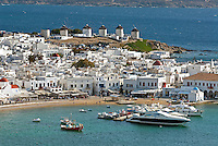 The Greek island of Mykonos is located in the central Aegean Sea and belongs to the a group of 220 islands known as Cyclades. It is home to a resident population of around 10,000. In 1537 Turkish pirate Barbarossa took over Mykonos. The island remained under the Turkish rule until 1821 and the Greek Revolution of independence.