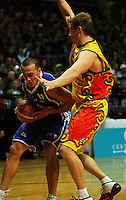 Mike Homik blocks Brendon Polybank during game two of the NBL Final basketball match between the Wellington Saints and Waikato Pistons at TSB Bank Arena, Wellington, New Zealand on Friday 20 June 2008. Photo: Dave Lintott / lintottphoto.co.nz