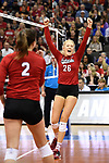 KANSAS CITY, MO - DECEMBER 16: Lauren Stivrins (26) of the University of Nebraska reacts after a point is scored for Nebraska during the Division I Women's Volleyball Championship held at Sprint Center on December 16, 2017 in Kansas City, Missouri. (Photo by Jamie Schwaberow/NCAA Photos via Getty Images)