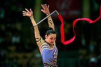 "Aliya Yussupova of Kazakhstan releases with ribbon at 2008 World Cup Kiev, ""Deriugina Cup"" in Kiev, Ukraine on March 22, 2008."