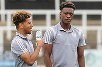 Timmy Abraham of Fulham, brother of Chelsea's Tammy, chats to his teammates ahead of kick-off during Bromley vs Fulham, Friendly Match Football at the H2T Group Stadium on 6th July 2019