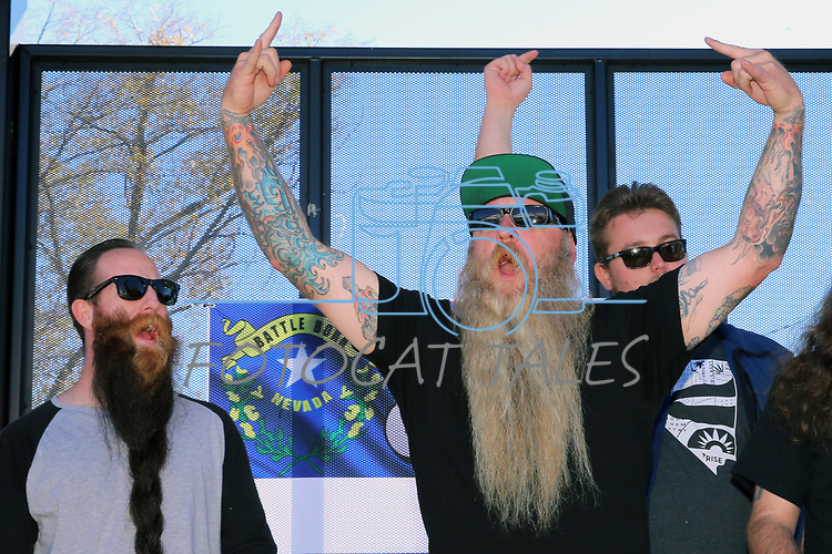 Jonny Olson from Washoe Valley reacts after winning second place in the longest beard contest during the annual Nevada Day Beard Contest in Carson City, Nev., on Saturday, October 28, 2017.<br /> Photo by Lance Iversen/Nevada Momentum