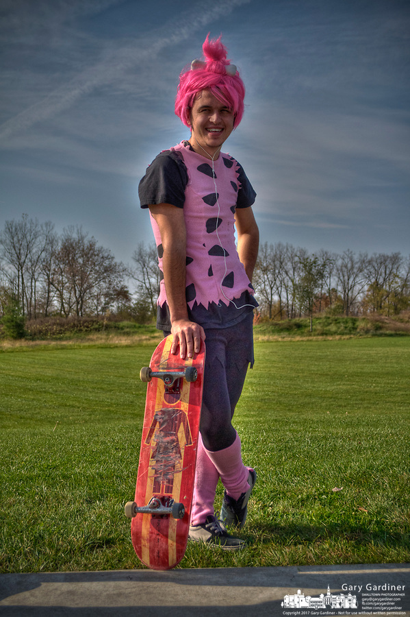 Man pink costume at Halloween skateboarding event at Westerville Skate Park.