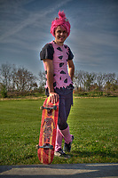 Man pink costume at Halloween skateboarding event at Westerville Skate Park.