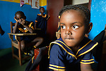 A girl during class in a day care center in Monrovia, Liberia, sponsored by United Methodist Women.