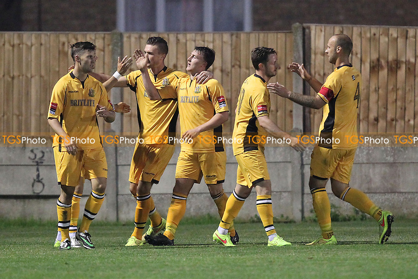 Maidstone celebrate their second goal scored by Alex Fisher (C) - AFC Hornchurch vs Maidstone United - Ryman League Premier Division Football at Mill Field, Aveley FC, Aveley, Essex - 02/09/14 - MANDATORY CREDIT: Gavin Ellis/TGSPHOTO - Self billing applies where appropriate - contact@tgsphoto.co.uk - NO UNPAID USE