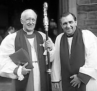 Rev Cuthbert J Peacocke, Church of Ireland, Anglican Communion, Bishop of Derry and Raphoe, left, with Rev George Good, Dean of Derry and Raphoe, outside St Columb's Cathedral, Londonderry, N Ireland, UK. 19710400000211..Copyright Image from Victor Patterson, 54 Dorchester Park, Belfast, United Kingdom, UK...For my Terms and Conditions of Use go to http://www.victorpatterson.com/Victor_Patterson/Terms_%26_Conditions.html