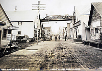 BNPS.co.uk (01202 558833)<br /> Pic: Elstob&Elstob/BNPS<br /> <br /> Boom Town - Front Street, Nome, Alaska in the early 1900's.<br /> <br /> Fascinating photos documenting the famous Alaska 'gold rush' have come to light 120 years later.<br /> <br /> Thousands of people chasing riches ventured into the North American wilderness after gold was discovered in Nome in 1899.<br /> <br /> Over the next decade a staggering 112 tonnes of gold was sourced.<br /> <br /> Unsurprisingly, everyone wanted a piece of the action, leading to a huge influx of people to the area.<br /> <br /> Its transformation into a thriving metropolis was documented by acclaimed American photographer Frank Nowell.