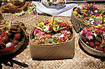 Temple Festival, Mascoti, Gianyar, Bali, Indonesia, Asia, photo bali211, Photo Copyright:  Lee Foster, www.fostertravel.com, 510 549-2202, lee@fostertravel.com, baskets, flora, craft, enjoyment, artful, inspiring, colorful, ornaments, display, horizontal