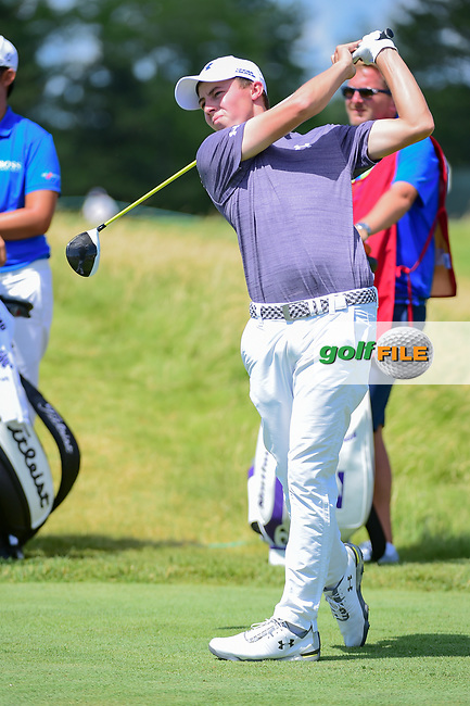 Matt Fitzpatrick (ENG) watches his tee shot on 12 during Thursday's round 1 of the 117th U.S. Open, at Erin Hills, Erin, Wisconsin. 6/15/2017.<br /> Picture: Golffile | Ken Murray<br /> <br /> <br /> All photo usage must carry mandatory copyright credit (&copy; Golffile | Ken Murray)