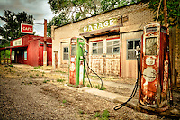 """Let's Stop for Gas and a Quick Bite to Eat - Utah Old Sinclair Gas Station wtih pumps"