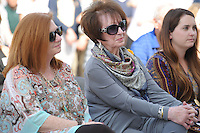 NWA Democrat-Gazette/ANDY SHUPE<br /> Billie Jo Starr (center) smiles Tuesday, Sept. 22, 2015, while sitting with her daughter, Shannon Starr Arcana (left), during a dedication ceremony for the Haas Hall Academy Starr Scholar Center in Fayetteville. The newly renovated facility is located at 380 N. Front Street and is named in honor of Starr and her family.