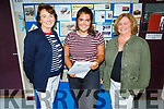 Moya Sheehan (Castleisland) Presentation Secondary School Student standing with Katherina Broderick (Principal) and her mom. Moya got 555 points and is going to do Engineering in UCC.