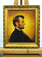 "Framed Digital Reproduction of Abraham Lincoln (1809-1865)16th US President. FRAMED SIZE 31"" x 27"" Stretcher Size: 24"" x 20"" <br />