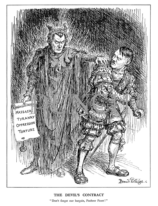 """The Devil's Contract. """"Don't forget our bargain, Fuehrer Faust!"""" (the Devil reminds Hitler of his duty to Massacre, Tyranny, Opression and Torture)"""