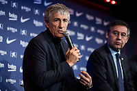 14th January 2020; Camp Nou, Barcelona, Catalonia, Spain; Press Conference for the introduction of the new manager Barcelona manager Quique Setien;  Quique Setien speks to press during the presentation - Editorial Use
