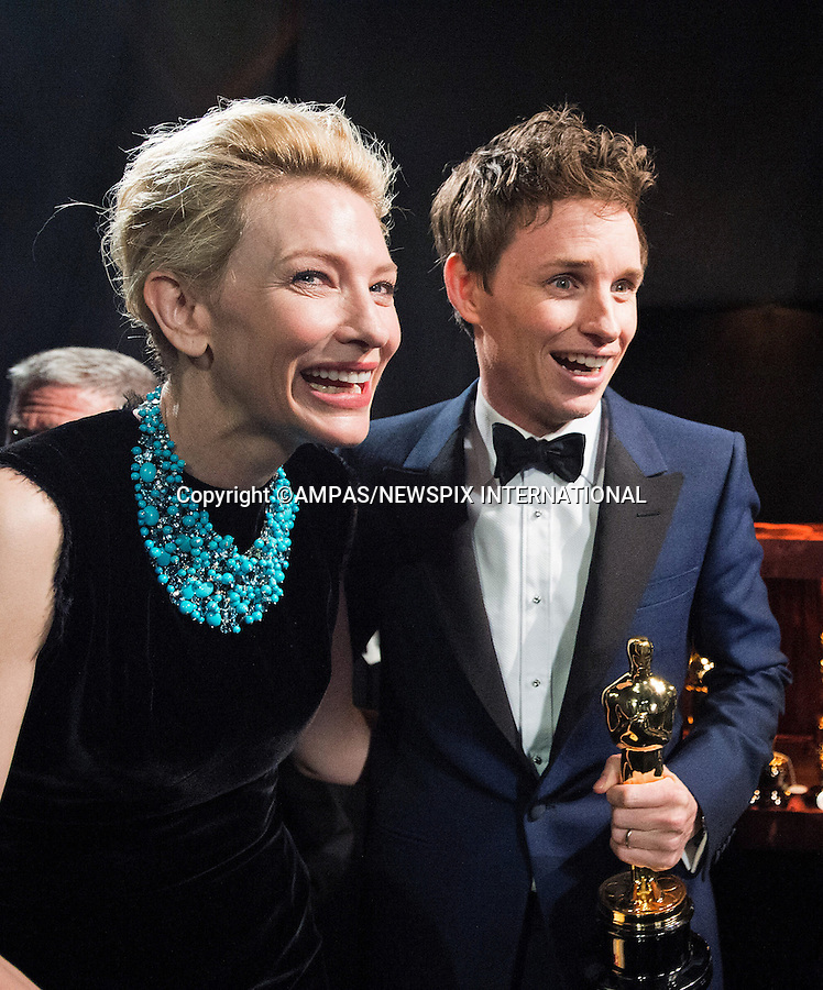 22.02.2015; Hollywood, California: 87TH OSCARS - EDDIE REDMAYNE and CATE BLANCHETT<br /><br />Annual Academy Awards Telecast, Dolby Theatre, Hollywood.<br />Mandatory Photo Credit: NEWSPIX INTERNATIONAL<br /><br />              **ALL FEES PAYABLE TO: &quot;NEWSPIX INTERNATIONAL&quot;**<br /><br />PHOTO CREDIT MANDATORY!!: NEWSPIX INTERNATIONAL(Failure to credit will incur a surcharge of 100% of reproduction fees)<br /><br />IMMEDIATE CONFIRMATION OF USAGE REQUIRED:<br />Newspix International, 31 Chinnery Hill, Bishop's Stortford, ENGLAND CM23 3PS<br />Tel:+441279 324672  ; Fax: +441279656877<br />Mobile:  0777568 1153<br />e-mail: info@newspixinternational.co.uk