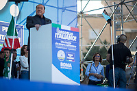 """(From L to R) Anna Maria Bernini MP (Member of Parliament for Forza Italia), Silvio Berlusconi MEP (Media tycoon, four times Prime Minister of Italy, leader of Forza Italia) & Mariastella Gelmini MP (Member of Parliament for Forza Italia, former Minister of Education in the Berlusconi IV Government).<br /> <br /> Rome, 19/10/19. Today, tens thousands of people (200,000 for the organisers, 50,000 for the police) gathered in Piazza San Giovanni to attend the national demonstration """"Orgoglio Italiano"""" (Italian Pride) of the far-right party Lega (League) of Matteo Salvini. The demonstration was supported by Silvio Berlusconi's party Forza Italia and Giorgia Meloni's party Fratelli d'Italia (Brothers of Italy, right-wing).  <br /> The aim of the rally was to protest against the Italian coalition Government (AKA Governo Conte II, Conte's Second Government, Governo Giallo-Rosso, 1.) lead by Professor Giuseppe Conte. The 66th Government of Italy is a coalition between Five Star Movement (M5S, 2.), Democratic Party (PD – Center Left, 3.), and Liberi e Uguali (LeU – Left, 4.), these last two parties replaced Lega / League as new members of a coalition based on Parliamentarian majority as stated in the Italian Constitution. The Governo Conte I (Conte's First Government, 5.) was 14-month-old when, between 8 and 9 of August 2019, collapsed after the Interior Minister Matteo Salvini withdrew his euroskeptic, anti-migrant, right-wing Lega / League (6.) from the populist coalition in a pindaric attempt (miserably failed) to trigger a snap election.<br /> <br /> Footnotes & Links:<br /> 1. http://bit.do/feK6N<br /> 2. http://bit.do/e7JLx<br /> 3. http://bit.do/e7JKy<br /> 4. http://bit.do/e7JMP<br /> 5. http://bit.do/e7JH7<br /> 6. http://bit.do/eE7Ey<br /> https://www.leganord.org<br /> Reportage: """"La Fabbrica Della Paura"""" (The Factory of Fear): http://bit.do/feLcy (Source Report, Rai.it - ITA)<br /> (Update) Reportage: """"La Fabbrica Social Della Paura"""" (The Social Network Factory o"""