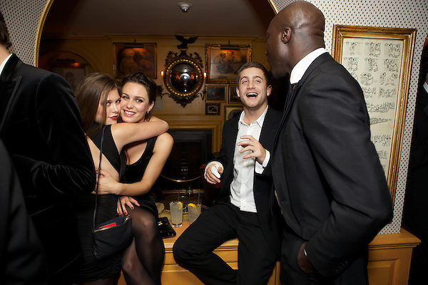 Rebecca Hoffnung from Made in Chelsea, Tyrone Wood and Ozwald Boateng at Annabel's Club for The Tatler Little Black Book Party, London