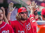 26 April 2014: Washington Nationals right fielder Jayson Werth returns to the dugout after scoring Washington's second run in the first inning against the San Diego Padres at Nationals Park in Washington, DC. The Nationals shut out the Padres 4-0 to take the third game of their 4-game series. Mandatory Credit: Ed Wolfstein Photo *** RAW (NEF) Image File Available ***
