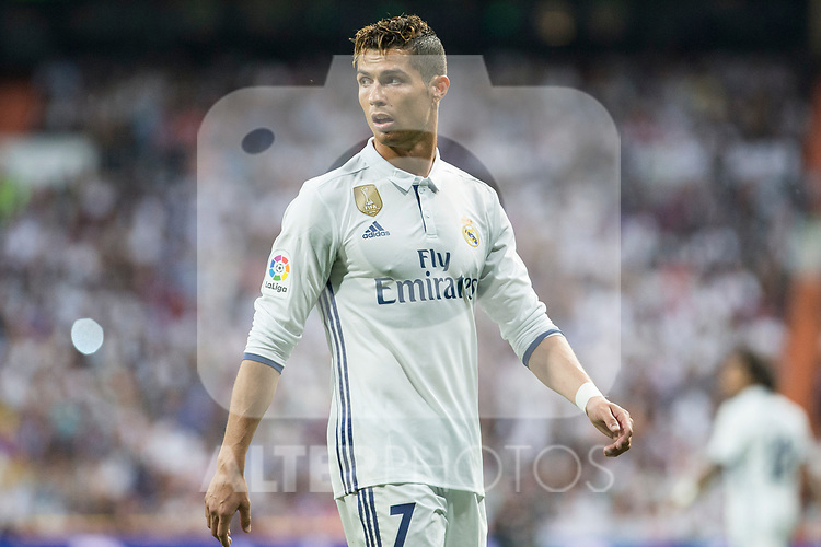 Cristiano Ronaldo of Real Madrid during the match of La Liga between Real Madrid and Futbol Club Barcelona at Santiago Bernabeu Stadium  in Madrid, Spain. April 23, 2017. (ALTERPHOTOS)
