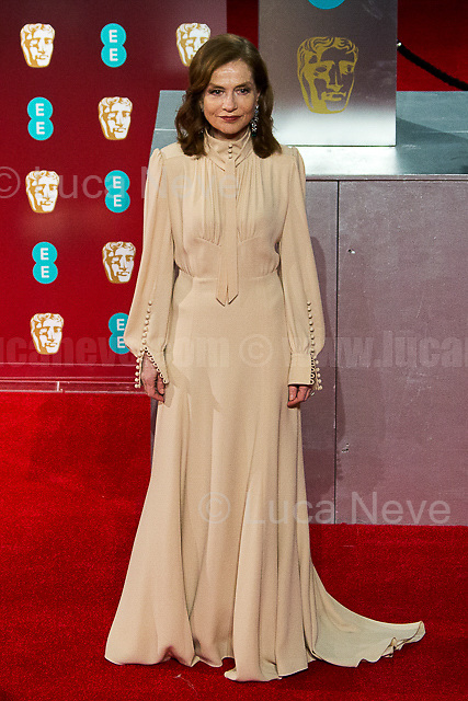 Isabelle Huppert.<br /> <br /> London, 12/02/2017. Red Carpet of the 2017 EE BAFTA (British Academy of Film and Television Arts) Awards Ceremony, held at the Royal Albert Hall in London.<br /> <br /> For more information please click here: http://www.bafta.org/