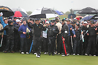 Shane Lowry(AM)winner of the irish open after 3 playoff holes against Robert Rock at the final round at the 3 Irish open in Co Louth Golf Club..Pictured walking onto the 18th green on the first of the playoff holes..Photo: Fran Caffrey/www.golffile.ie..