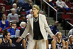 Washington State head basketball coach, June Daugherty, reacts to a call in the semi-finals during the Cougars run through the Pac-12 Conference women's basketball tournament at Key Arena in Seattle, Washington, on March 8, 2014.