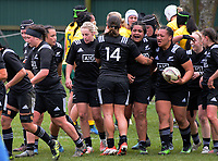 The Black Ferns congratulate Toka Natua on her try during the 2017 International Women's Rugby Series rugby match between the NZ Black Ferns and Australia Wallaroos at Rugby Park in Christchurch, New Zealand on Tuesday, 13 June 2017. Photo: Dave Lintott / lintottphoto.co.nz