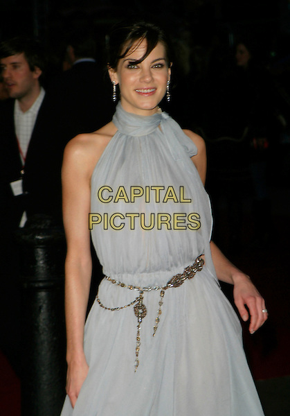 "MICHELLE MONAGHAN.""Mission Impossible 3"" Uk Film Premiere - Arrivals,.Odeon Leicester Square, London, England,.April 25th 2006..mission: impossible III half length grey blue belted dress belt.REf: AH.www.capitalpictures.com.sales@capitalpictures.com.©Adam Houghton/Capital Pictures."