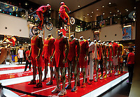 Aug. 6, 2008; Beijing, CHINA; A display of Chinese Olympic apparel on display at a shopping center in Beijing. The Olympics begin at 8pm on August 8, 2008. Mandatory Credit: Mark J. Rebilas-