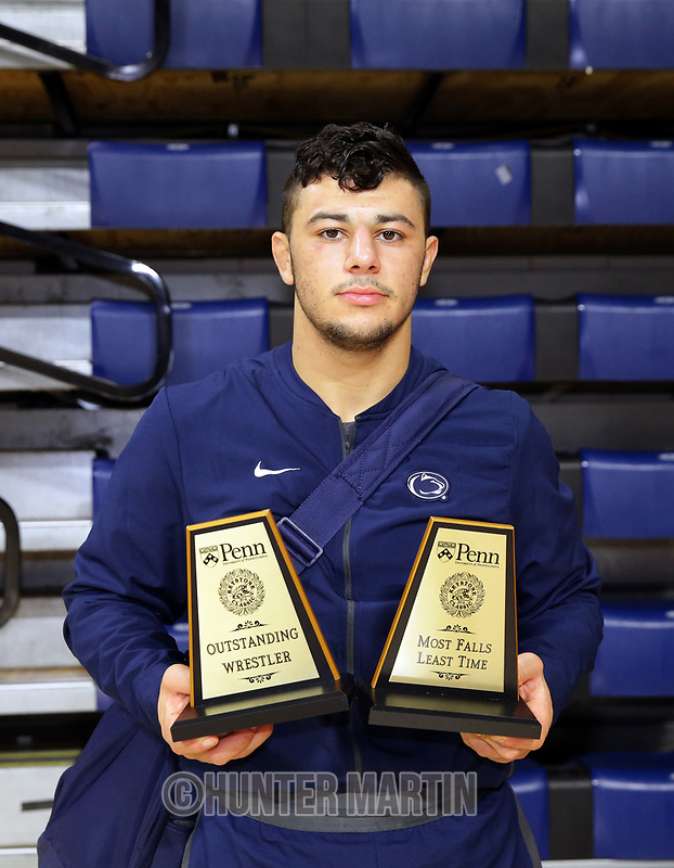 "PHILADELPHIA, PA - NOVEMBER 18: 165 pounder Vincenzo Joseph of the Penn State Nittany Lions poses with the ""Outstanding Wrestler"" and the ""Most Falls Least Time"" awards after the Keystone Classic on November 18, 2018 at The Palestra on the campus of the University of Pennsylvania in Philadelphia, Pennsylvania. (Photo by Hunter Martin/Getty Images) *** Local Caption *** Vincenzo Joseph"