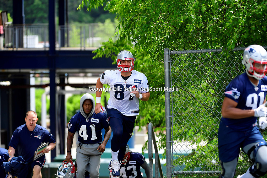 June 5, 2018: New England Patriots tight end Rob Gronkowski (87) jogs to practice at the team's mini camp held on the practice fields at Gillette Stadium, in Foxborough, Massachusetts. Eric Canha/CSM